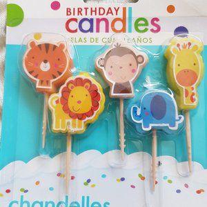 Zoo Animals Birthday Toothpick Candles, 5pcs - NEW
